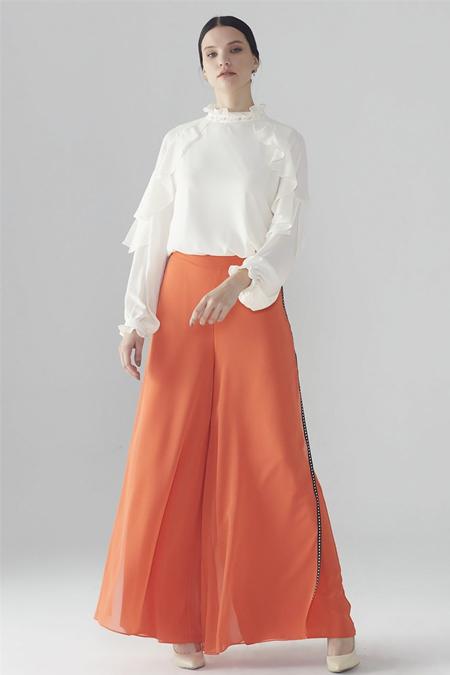 Zühre Oranj Üst Şifon Detaylı Bol Kesim Pantolon