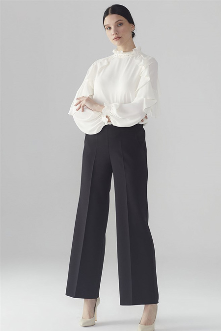Zühre Siyah Bel Lastik Detaylı Pantolon