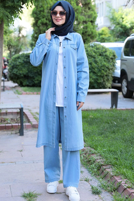 Ahunisa Açık Mavi Tunik & Pantolon İkili Takım