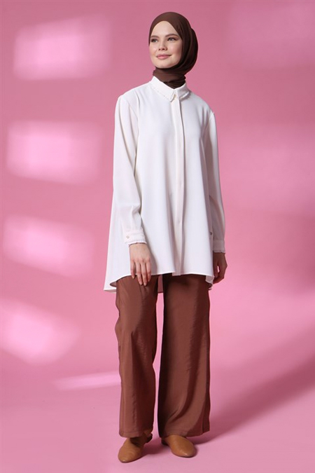 Armine Kahverengi Çıt Çıt Detaylı Pantolon