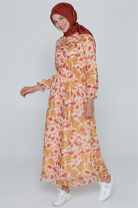 Armine Somon Emprime Baskılı Elbise