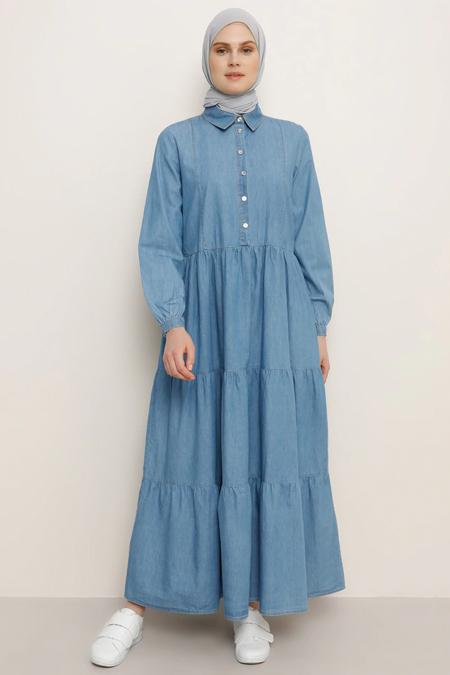 Benin Açık Mavi Doğal Kumaşlı Volanlı Kot Elbise