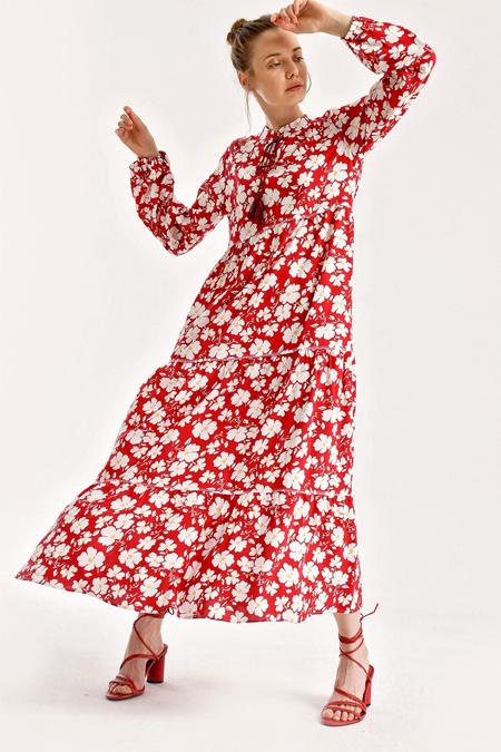 Bigdart Kırmızı Çiçek Desenli Yakası Bağcıklı Elbise