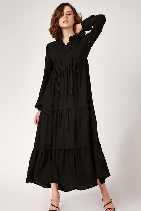 Bigdart Siyah Yaka Bağcıklı Tesettür Elbise