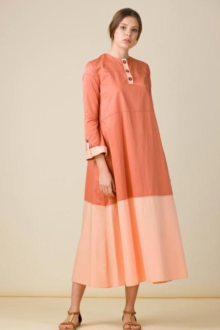 Eda Atalay Kiremit Blok Renkli Poplin Elbise