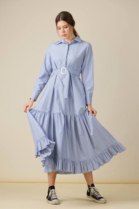Eda Atalay Mavi Kemer Detaylı Çizgili Gömlek Elbise