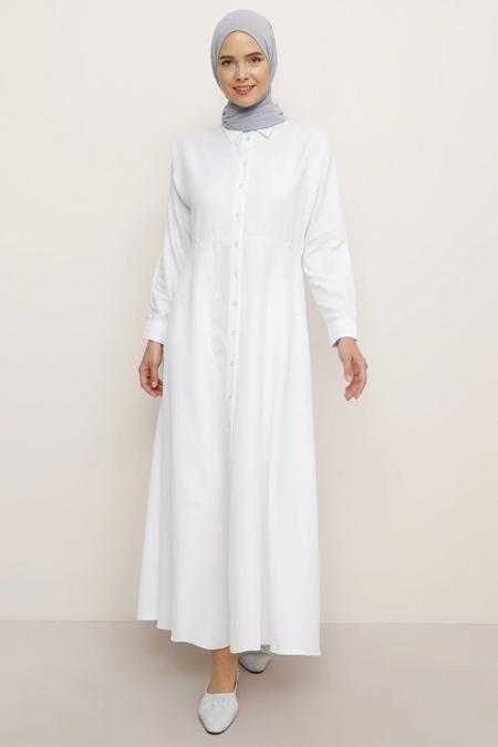 Everyday Basic Beyaz Boydan Düğmeli Elbise