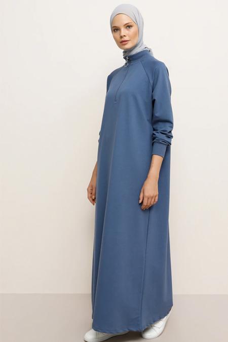 Everyday Basic Derin Mavi Fermuar Detaylı Spor Elbise
