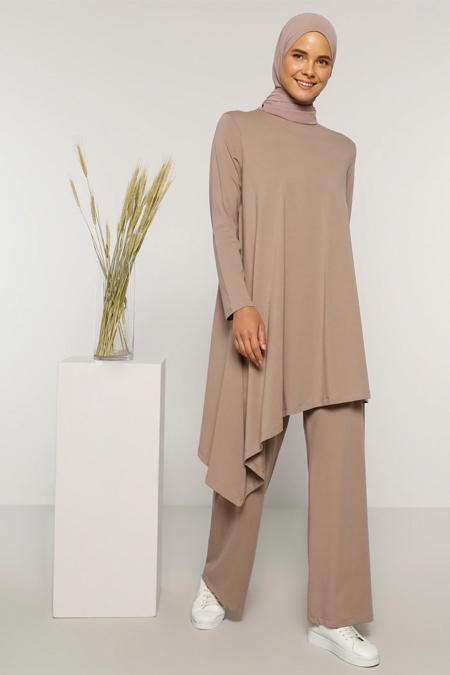 Everyday Basic Vizon Doğal Kumaşlı Tunik & Pantolon İkili Takım
