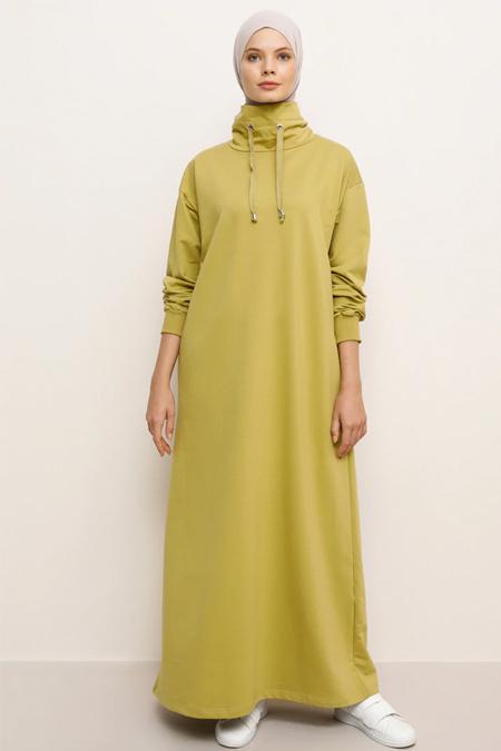 Everyday Basic Yağ Yeşili Boğazlı Yaka Cepli Elbise