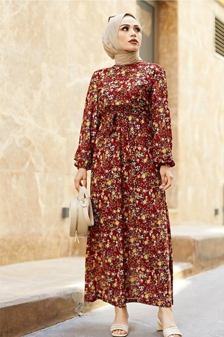Festmoda Bordo Kuşaklı Büzgülü Elbise