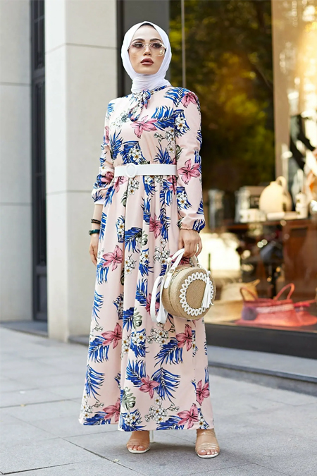 Festmoda Pembe Kravatlı Çiçek Desenli Elbise