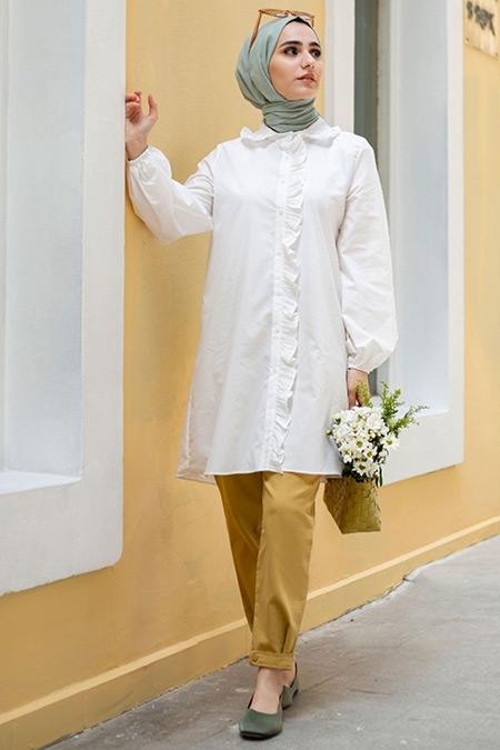Gizce Beyaz Gilda Tunik