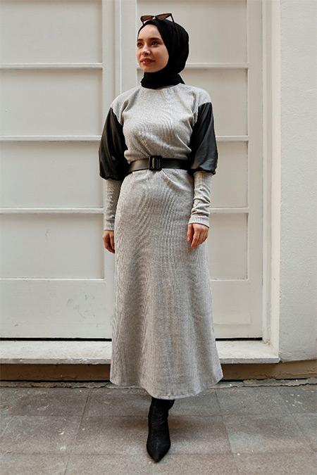 Gizce Gri Mars Elbise