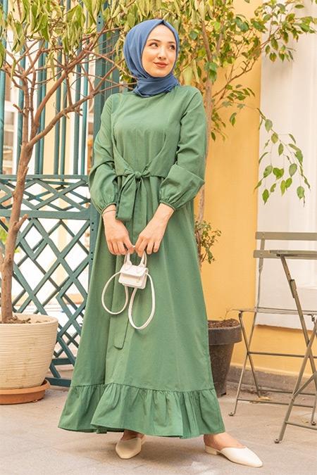 Gizce Yeşil Bijon Elbise