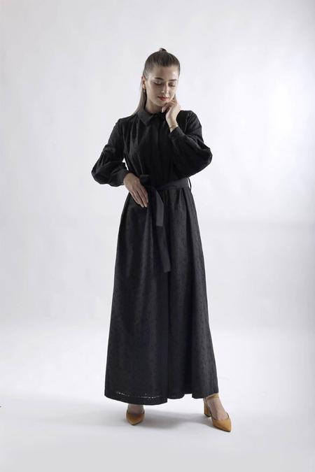 HE-QA Siyah Brode Elbise