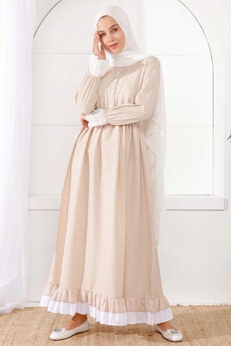 İnşirah Bej Çizgili Desenli Elbise