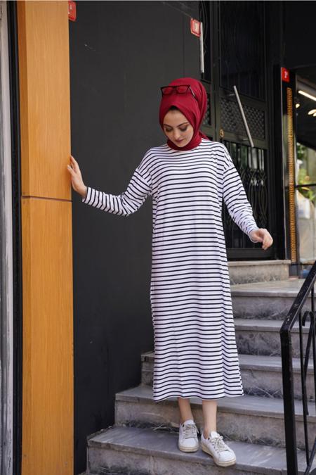 Kamil Keskin Beyaz Çizgili Sandy Elbise