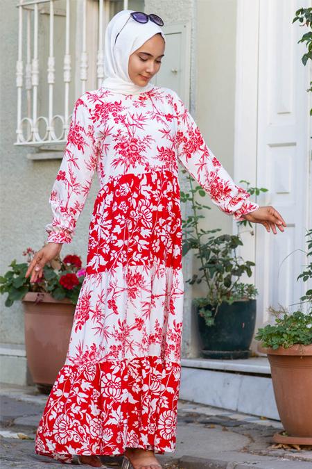 Kırmızı Çiçekli Tesettür Elbise