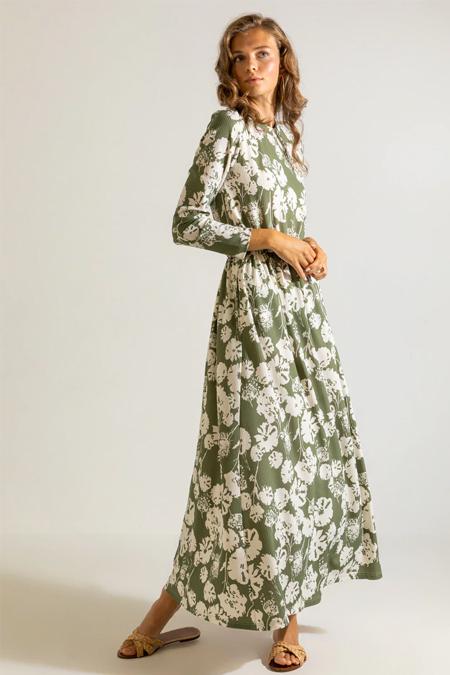 Muni Muni Çağla Yeşili Beli Lastikli Desenli Elbise