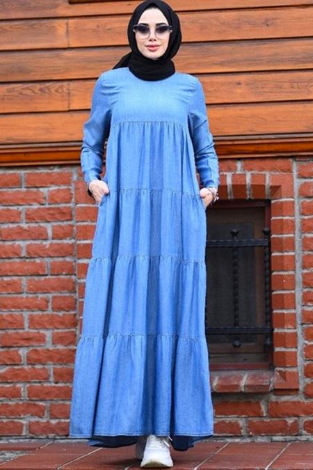 Neways Açık Mavi Büzgülü Çingene Elbise