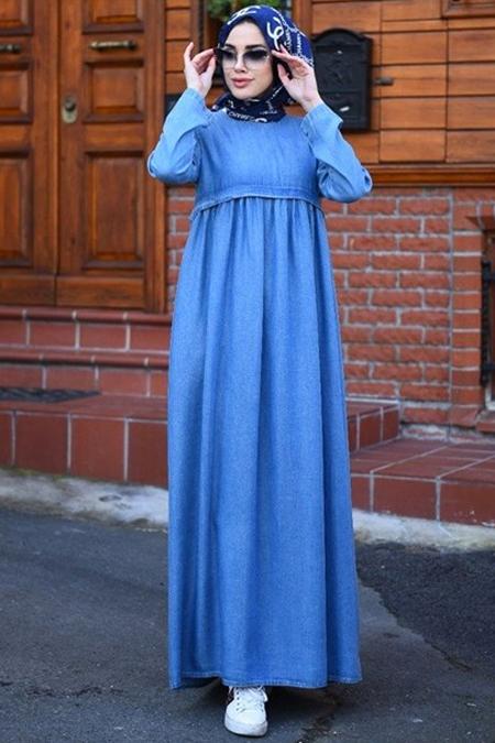Neways Açık Mavi Büzgülü Elbise