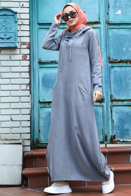 Neways Gri Kapüşonlu Kot Elbise
