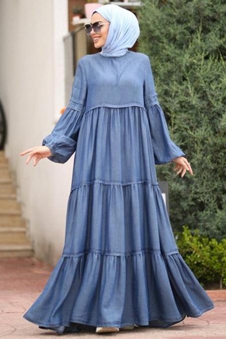 Neways Mavi Fırfırlı Büzgülü Elbise