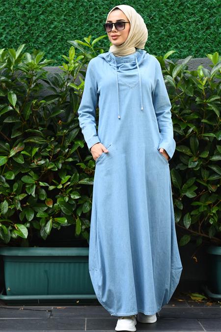 Neways Mavi Kapüşonlu Kot Elbise