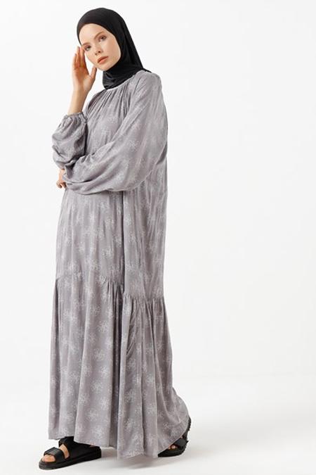 Phull Füme Yanları Büzgülü Elbise
