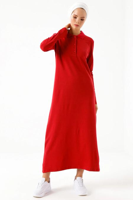 Phull Kırmızı Polo Yaka Elbise