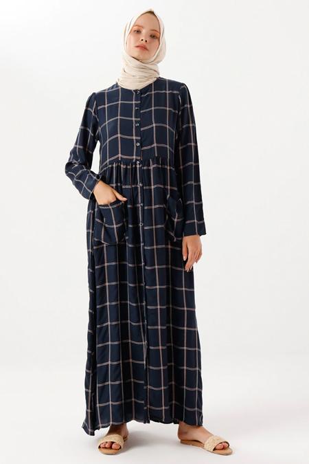 Phull Lacivert Boydan Düğmeli Elbise
