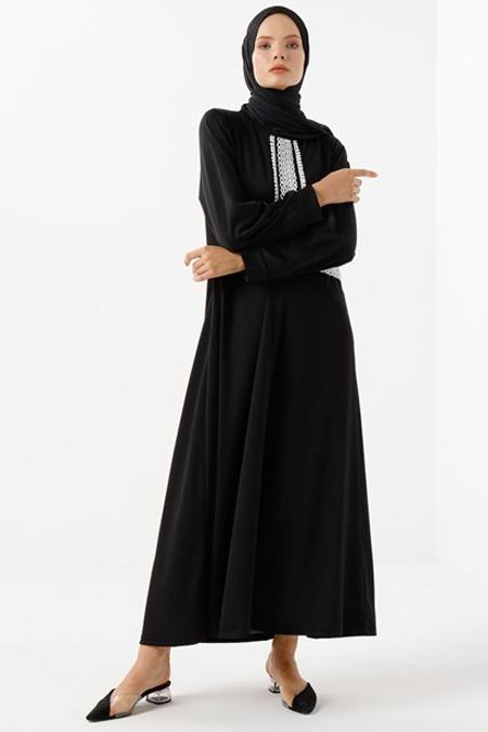 Phull Siyah Önü Güpürlü Büyük Beden Elbise