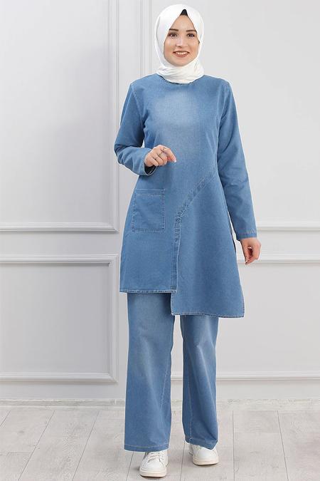 Piennar Mavi Kot Tunik & Pantolon İkili Takım