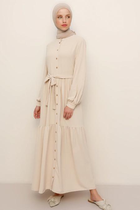 Refka Bej Boydan Düğmeli Beli Kuşaklı Elbise