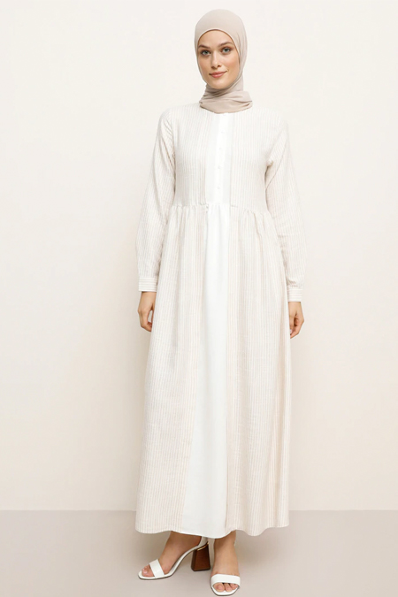 Refka Bej Çizgili Doğal Kumaşlı Elbise