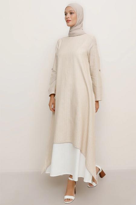 Refka Bej Doğal Kumaşlı Yanları Yırtmaçlı Elbise