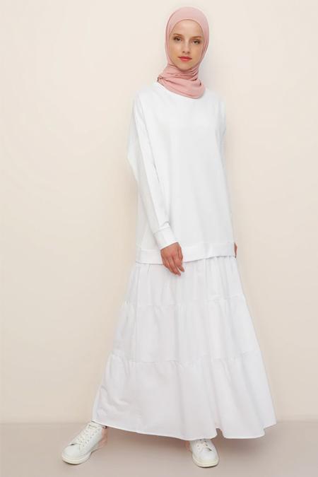 Refka Beyaz Garnili Elbise