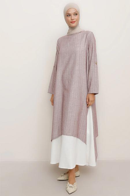 Refka Bordo Doğal Kumaşlı Yanları Yırtmaçlı Elbise