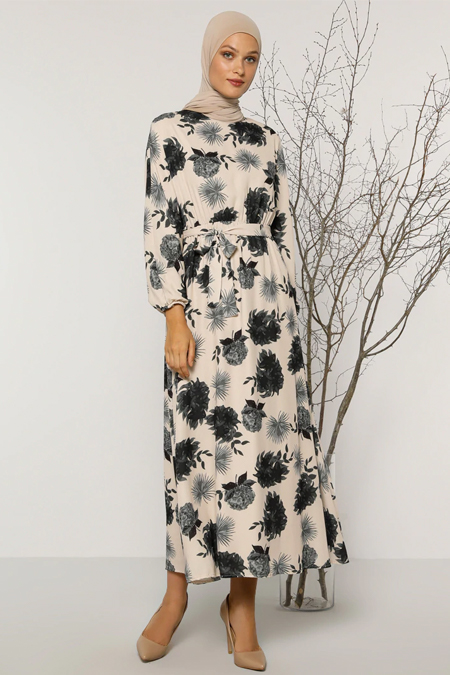 Refka Ekru Çiçek Desenli Elbise