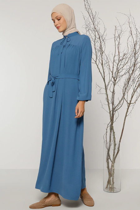 Refka İndigo Yaka Detaylı Elbise