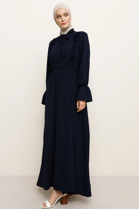 Refka Lacivert Fırfır Detaylı Elbise