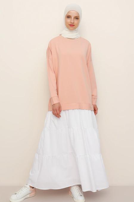 Refka Somon Beyaz Garnili Elbise