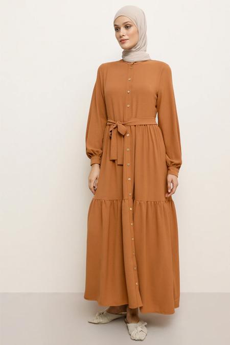 Refka Taba Boydan Düğmeli Beli Kuşaklı Elbise