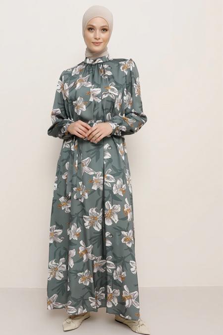 Refka Yeşil Desenli Elbise