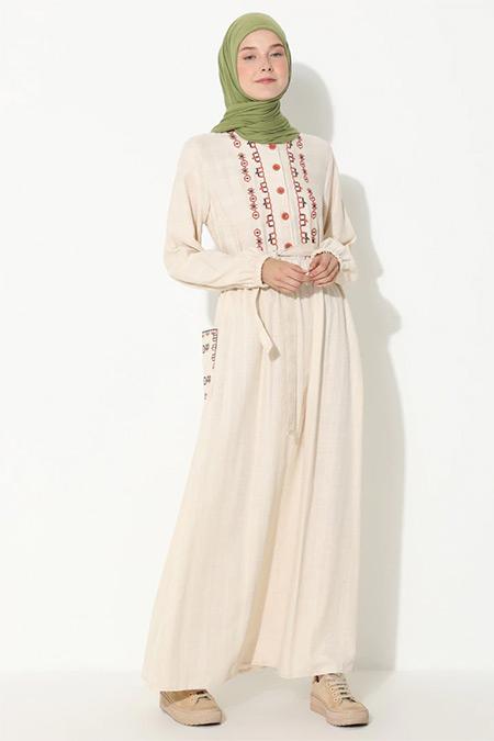 Suem Vizon Nakış Detaylı Elbise
