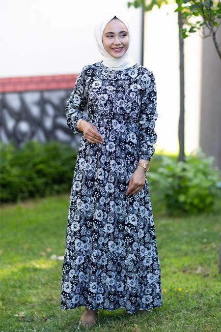 Siyah Çiçekli Tesettür Elbise