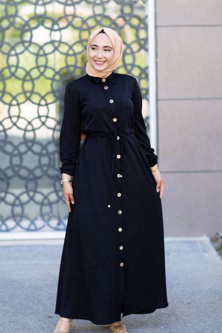 Siyah Düğmeli Tesettür Elbise