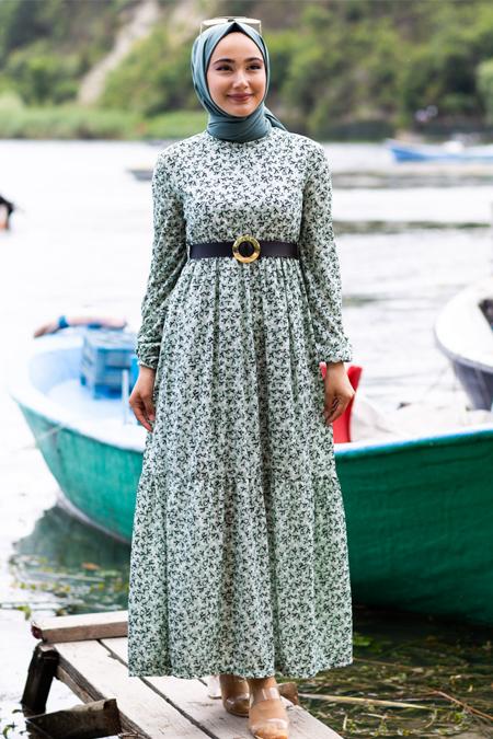 Su Yeşili Çiçekli Tesettür Elbise