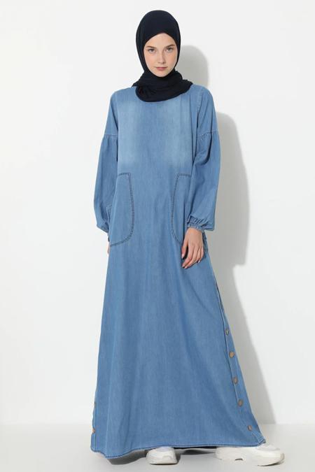 Suem Açık Mavi Desenli Kot Elbise